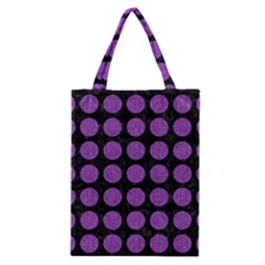 Circles1 Black Marble & Purple Denim (r) Classic Tote Bag by trendistuff