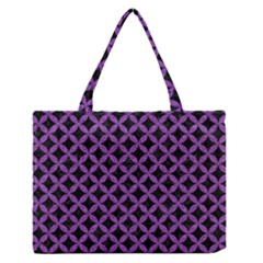 Circles3 Black Marble & Purple Denim (r) Zipper Medium Tote Bag by trendistuff