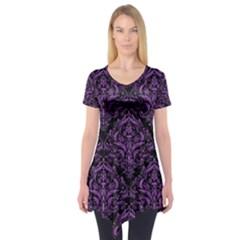 Damask1 Black Marble & Purple Denim (r) Short Sleeve Tunic  by trendistuff