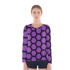 Hexagon2 Black Marble & Purple Denim Women s Long Sleeve Tee by trendistuff