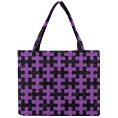 Puzzle1 Black Marble & Purple Denim Mini Tote Bag by trendistuff