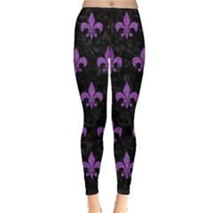 Royal1 Black Marble & Purple Denim Leggings  by trendistuff