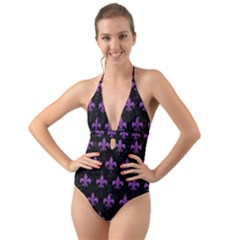 Royal1 Black Marble & Purple Denim Halter Cut Out One Piece Swimsuit by trendistuff