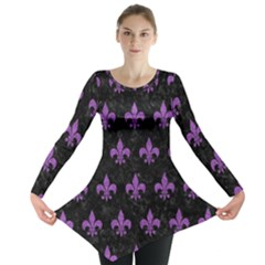 Royal1 Black Marble & Purple Denim Long Sleeve Tunic  by trendistuff
