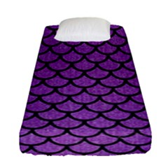 Scales1 Black Marble & Purple Denim Fitted Sheet (single Size) by trendistuff