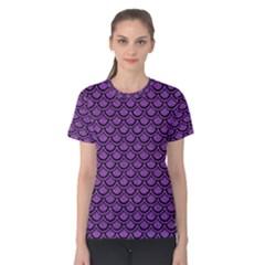 Scales2 Black Marble & Purple Denim Women s Cotton Tee by trendistuff