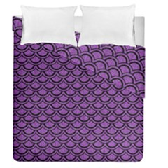 Scales2 Black Marble & Purple Denim Duvet Cover Double Side (queen Size) by trendistuff