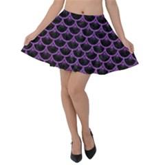Scales3 Black Marble & Purple Denim (r) Velvet Skater Skirt