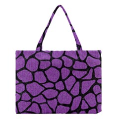 Skin1 Black Marble & Purple Denim (r) Medium Tote Bag