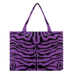 Skin2 Black Marble & Purple Denim Medium Tote Bag by trendistuff