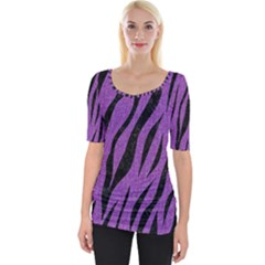 Skin3 Black Marble & Purple Denim Wide Neckline Tee by trendistuff