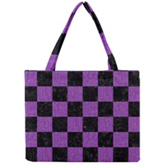 Square1 Black Marble & Purple Denim Mini Tote Bag by trendistuff