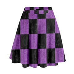 Square1 Black Marble & Purple Denim High Waist Skirt by trendistuff