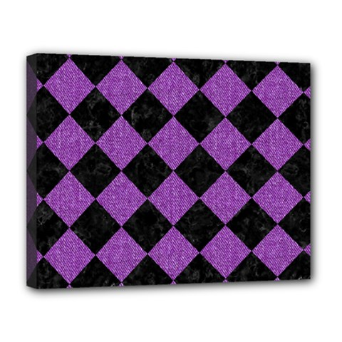 Square2 Black Marble & Purple Denim Canvas 14  X 11  by trendistuff