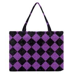 Square2 Black Marble & Purple Denim Zipper Medium Tote Bag by trendistuff