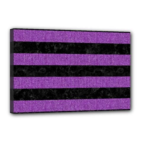 Stripes2 Black Marble & Purple Denim Canvas 18  X 12  by trendistuff