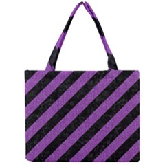 Stripes3 Black Marble & Purple Denim (r) Mini Tote Bag by trendistuff