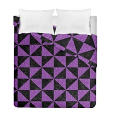Triangle1 Black Marble & Purple Denim Duvet Cover Double Side (full/ Double Size) by trendistuff