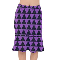 Triangle2 Black Marble & Purple Denim Mermaid Skirt by trendistuff