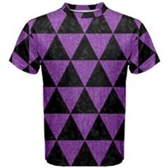 Triangle3 Black Marble & Purple Denim Men s Cotton Tee by trendistuff