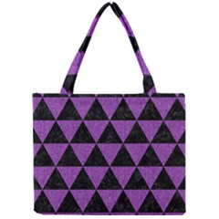 Triangle3 Black Marble & Purple Denim Mini Tote Bag by trendistuff
