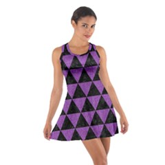 Triangle3 Black Marble & Purple Denim Cotton Racerback Dress by trendistuff