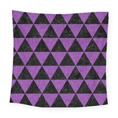 Triangle3 Black Marble & Purple Denim Square Tapestry (large) by trendistuff