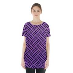 Woven2 Black Marble & Purple Denim Skirt Hem Sports Top by trendistuff