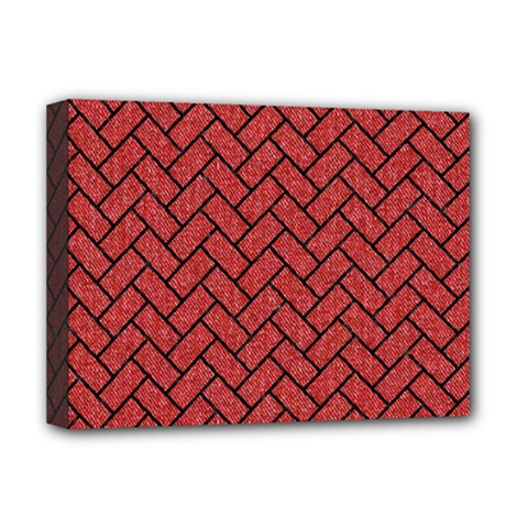 Brick2 Black Marble & Red Denim Deluxe Canvas 16  X 12   by trendistuff