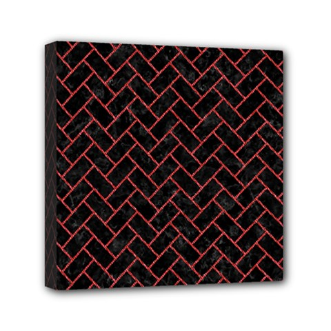Brick2 Black Marble & Red Denim (r) Mini Canvas 6  X 6  by trendistuff