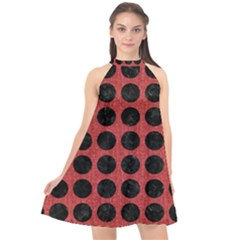 Circles1 Black Marble & Red Denim Halter Neckline Chiffon Dress