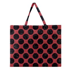 Circles2 Black Marble & Red Denim Zipper Large Tote Bag by trendistuff