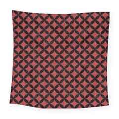 Circles3 Black Marble & Red Denim Square Tapestry (large) by trendistuff