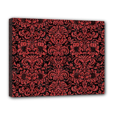 Damask2 Black Marble & Red Denim (r) Canvas 14  X 11  by trendistuff