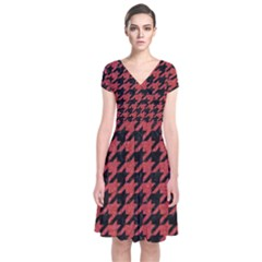 Houndstooth1 Black Marble & Red Denim Short Sleeve Front Wrap Dress