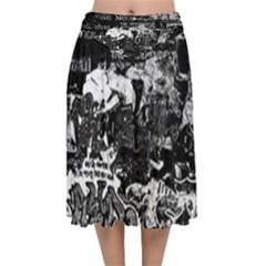 Graffiti Velvet Flared Midi Skirt
