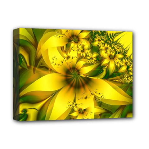 Beautiful Yellow Green Meadow Of Daffodil Flowers Deluxe Canvas 16  X 12   by beautifulfractals