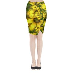 Beautiful Yellow Green Meadow Of Daffodil Flowers Midi Wrap Pencil Skirt by jayaprime