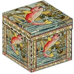 Fish Underwater Cubism Mosaic Storage Stool 12   by Celenk