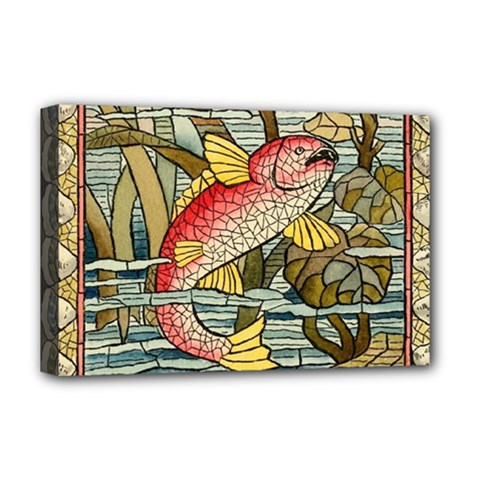 Fish Underwater Cubism Mosaic Deluxe Canvas 18  X 12   by Celenk