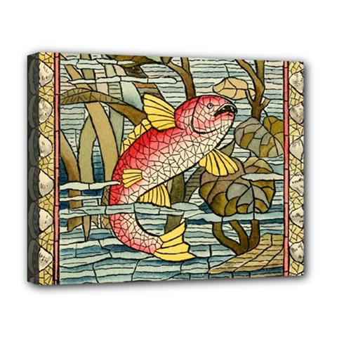 Fish Underwater Cubism Mosaic Deluxe Canvas 20  X 16   by Celenk