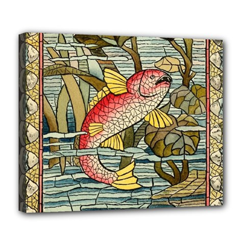 Fish Underwater Cubism Mosaic Deluxe Canvas 24  X 20   by Celenk