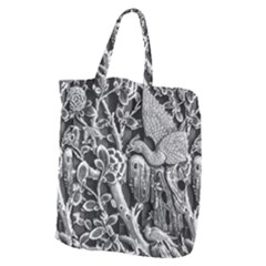 Black And White Pattern Texture Giant Grocery Zipper Tote by Celenk