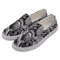Black And White Pattern Texture Men s Canvas Slip Ons by Celenk