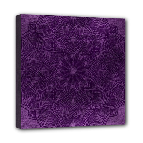 Background Purple Mandala Lilac Mini Canvas 8  X 8  by Celenk