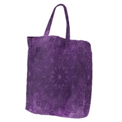 Background Purple Mandala Lilac Giant Grocery Zipper Tote by Celenk