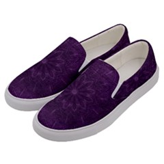 Background Purple Mandala Lilac Men s Canvas Slip Ons by Celenk