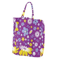 Floral Flowers Giant Grocery Zipper Tote by Celenk