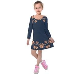 Floral Vintage Royal Frame Pattern Kids  Long Sleeve Velvet Dress by Celenk
