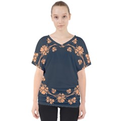Floral Vintage Royal Frame Pattern V Neck Dolman Drape Top